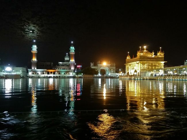 Goldentempleamritsar Peace Serenity Holyplace Night Lights Waheguruji Harmandirsahib Amritsar Punjab