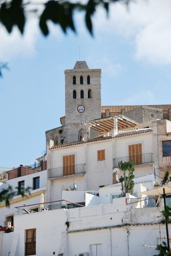 Cathedral Santa Maria de las Nieves Eivissa Ibiza Dalt Vila Cityscape City Clock Clock Face Clock Tower Urban Skyline Downtown District Sky Architecture Tower Residential Structure Historic Tall - High Housing Settlement TOWNSCAPE Rooftop Residential District