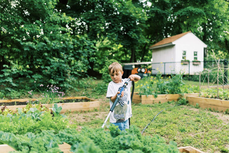 Full length of boy holding umbrella against plants