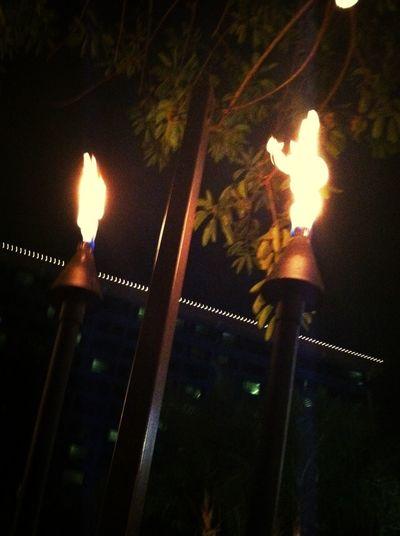 Tiki Torches Enjoying Life Hello World