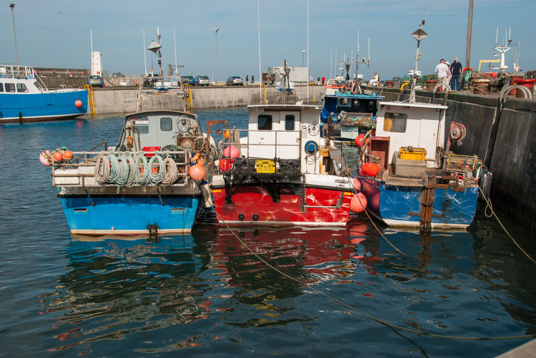 View of boats moored in harbor
