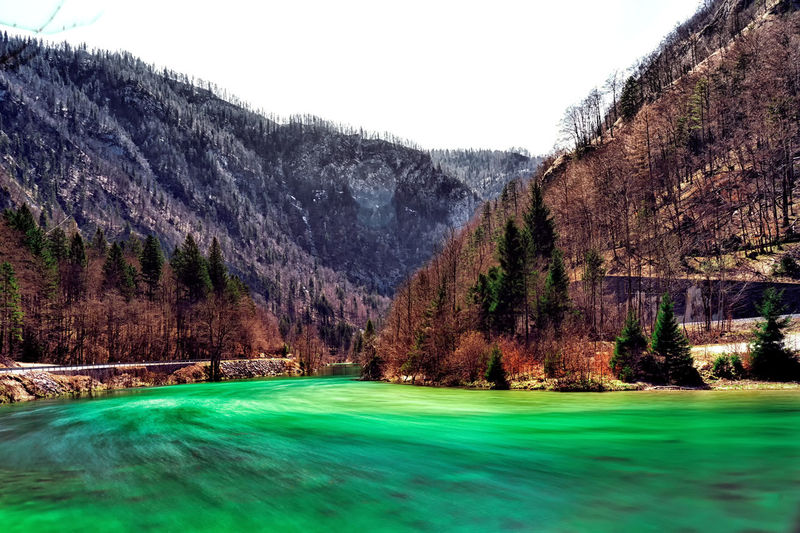 When I was traveling to Bohinj from Bled I saw this lovely tranquil scene and I had to stop and capture it! Long Exposure Mountains Nature Slovenia Bled Bohinj Non-urban Scene River Motion Blur Valley Beauty In Nature Springtime Day EyeEm Nature Lover EyeEm Best Edits Tree Rural Scene Sky Green Color Landscape Pinaceae Tranquil Scene Countryside Scenics Idyllic Calm Tranquility