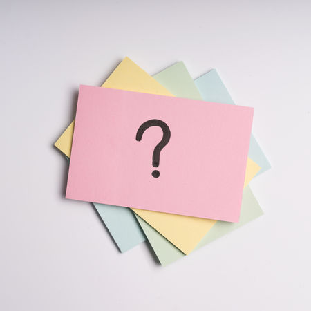 Question Mark Adhesive Note Close-up Copy Space Message Multi Colored Note Office Paper Reminder Still Life White Background
