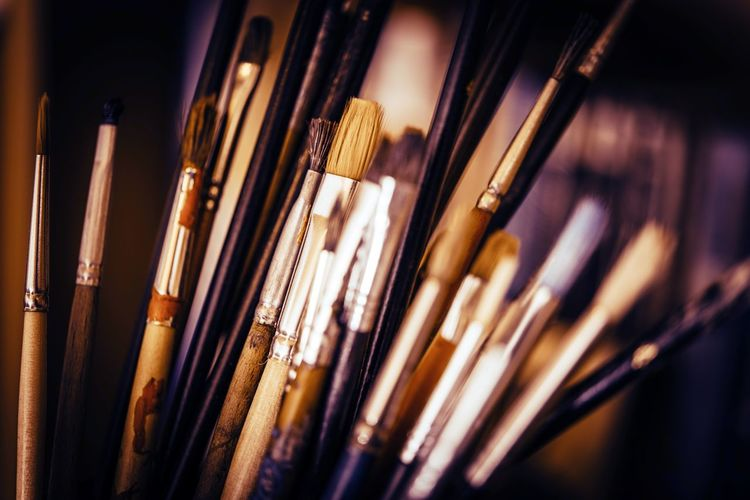 Colorful Oil Painting Paintbrushes Closeup Photo. Artist Abundance Arrangement Artism Bottle Choice Close-up Collection Creativity Education Focus On Foreground Food And Drink In A Row Large Group Of Objects Oil Painting Paintbrush Selective Focus Still Life