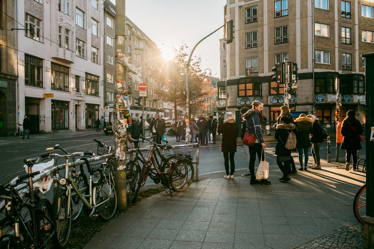 Adult Architecture Bicycle Building Exterior Built Structure City City Life City Street Group Of People Land Vehicle Lifestyles Men Mode Of Transportation Nature Outdoors People Real People Street Transportation Ubahn Walking Weinmeisterstraße Women