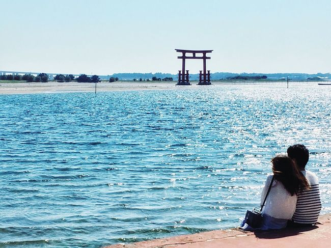 弁天島 Sea Rear View Water Real People One Person Sitting Women Tranquility Tranquil Scene Scenics Outdoors Nature Beach Horizon Over Water Clear Sky Beauty In Nature Day Sky Leisure Activity Relaxation