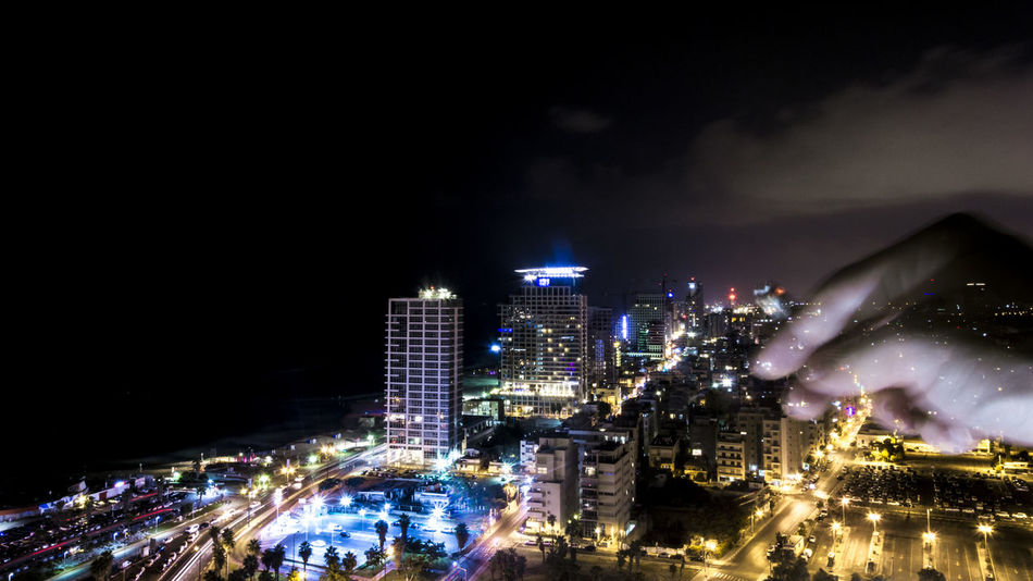 Architecture Built Structure Cigarette  City Cityscape Illuminated Israel Israelsummer Last Night Long Exposure Modern Night No People Outdoors Sky Skyline Skyscraper Summer 2016 Tel Aviv Tel Aviv Skyline Telaviv Telavivcity Urban Night Shot View From The Top My Year My View Breathing Space
