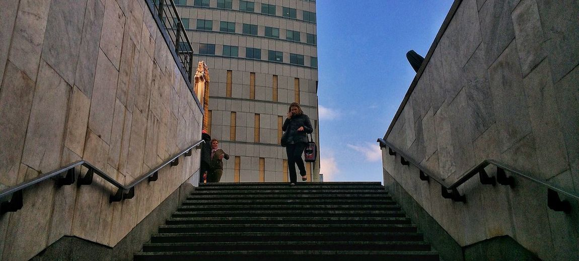 Real People Low Angle View City Warsaw One Person Stairs Adult Outdoors Metro
