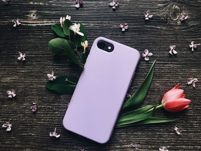 Enjoying Nature In The Mood For Love Lilac Spring Tulips🌷 Blossom Flowers Mobile Flat Lay Table Freshness Plant Leaf Plant Part Close-up Flowering Plant High Angle View Wood - Material Still Life Fragility Directly Above