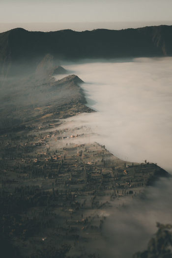 High angle view of landscape in foggy weather