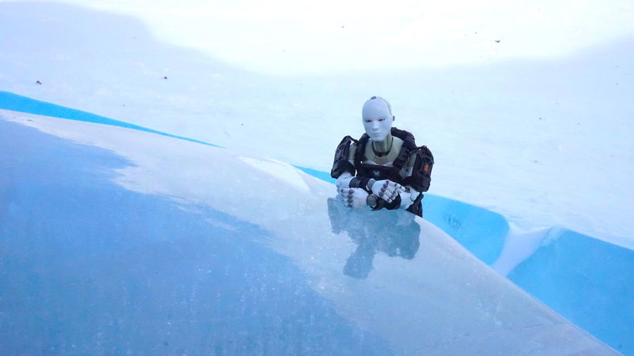 Modern Photoshoot. Toyphotography Toys Toy Synthetic Human Hot Toys Snow Winter Day Cold Temperature The Real Greenland Ice Outdoors Ilulissat Icefjord Nature This Is Greenland Ilulissat Pew Pew Gun Figures EyeEm Best Shots EyeEm Best Shots - Landscape EyeEm Best Shots - Nature