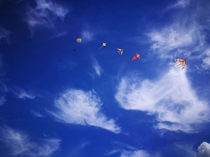 Low angle view of kites in blue sky