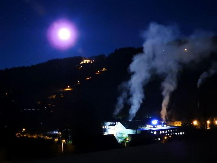 Emba Illuminated Luna Moon Moonlight Měsíc Nature Night No People Outdoors Paseky Nad Jizerou Sky Smoke - Physical Structure Stadium Superúplněk úplněk