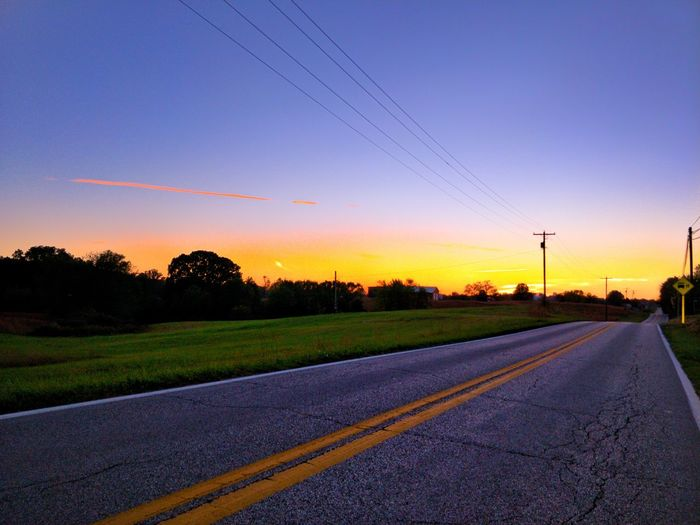 Cable Electricity  Technology Electricity Pylon Sunset Road Track - Imprint Tree Business Finance And Industry No People Rural Scene Outdoors Day Sky