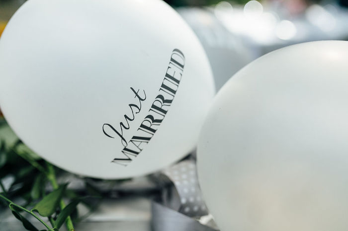 White balloons with Just Married text Just Married Wedding Balloon negative space No People Space Text White Balloons