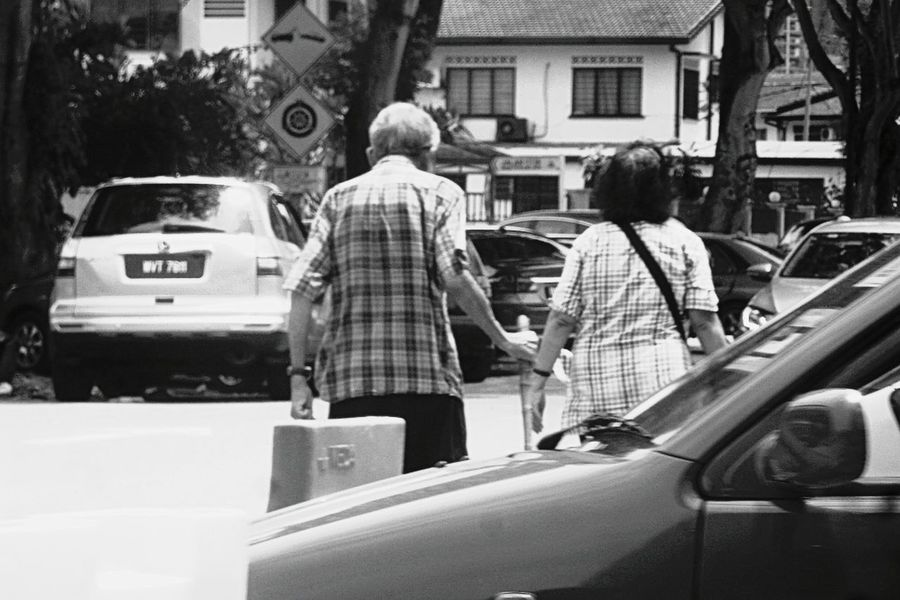 Bnw Photography First Eyeem Photo Street Senior Adult Day Blackandwhite Photography Photojournalism Monochrome Photography Bnwphotography Photooftheday Black And White Collection  Monochrome _ Collection Love ♥ Couple Walking Togetherness