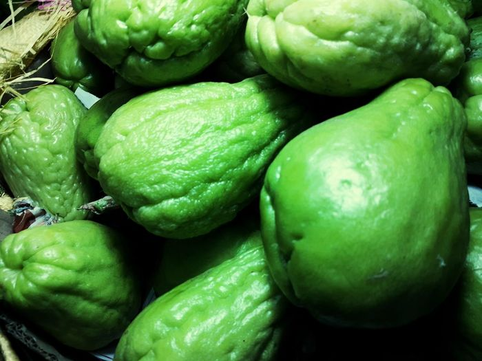 Full frame shot of green fruits for sale in market