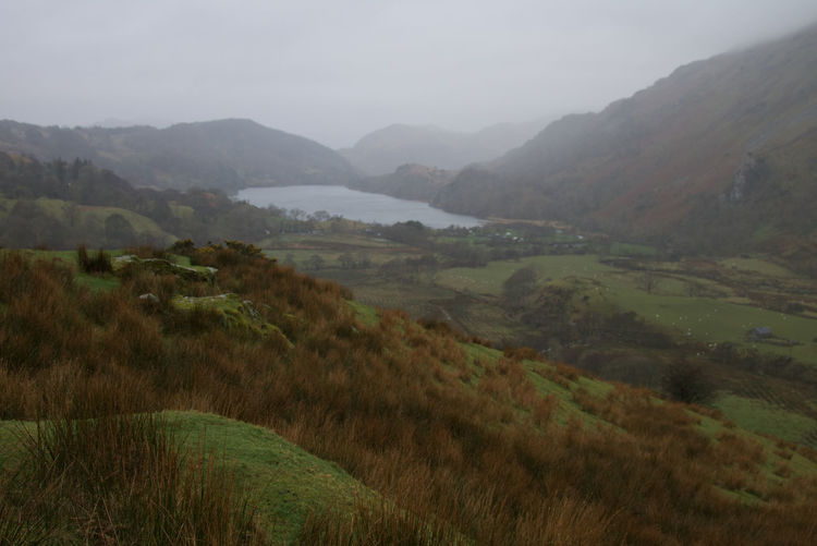 Lake Water Valley Valley View Welsh Countryside Wales Mountains Mountain Slope Trees Fog Mountain Field Landscape
