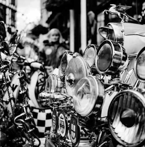 Black And White Friday Mods Scooters London 2017 Motorcycle Transportation Outdoors Day No People Close-up