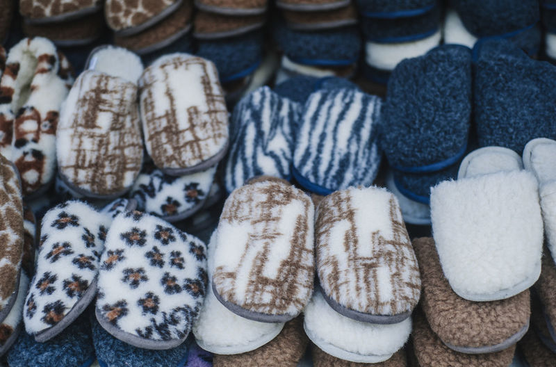 Full Frame Shot Of Slippers For Sale In Market