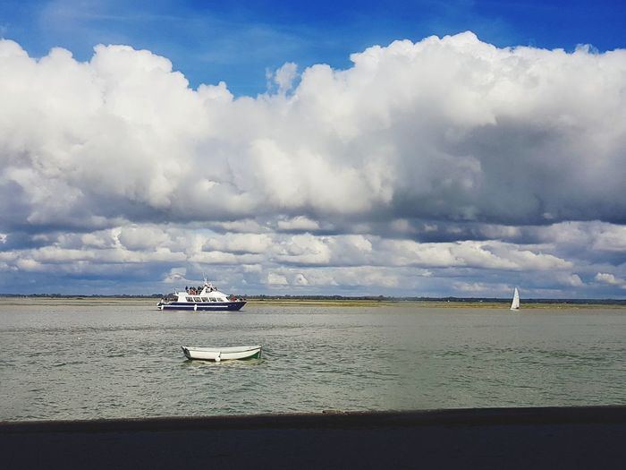 Cloud - Sky Sea Beach Water Blue Landscape Sunny Day Tranquility Nature Outdoors Sky Nautical Vessel No People Picardie France Baie De Somme