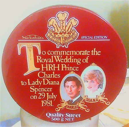 1981 Commemorative Tin Oldtins Collectable Merchandise Collectable Royal Wedding Metal Tins Royalty Quality Street Metal Tin Tin Collection Prince Charles H.R.H. Mackintosh's  Commemorative Princess Diana Collectables Lady Diana Metaltins Collectable Items Metaltin Old Tins Lady Diana Spencer Collectors Item Oldtin