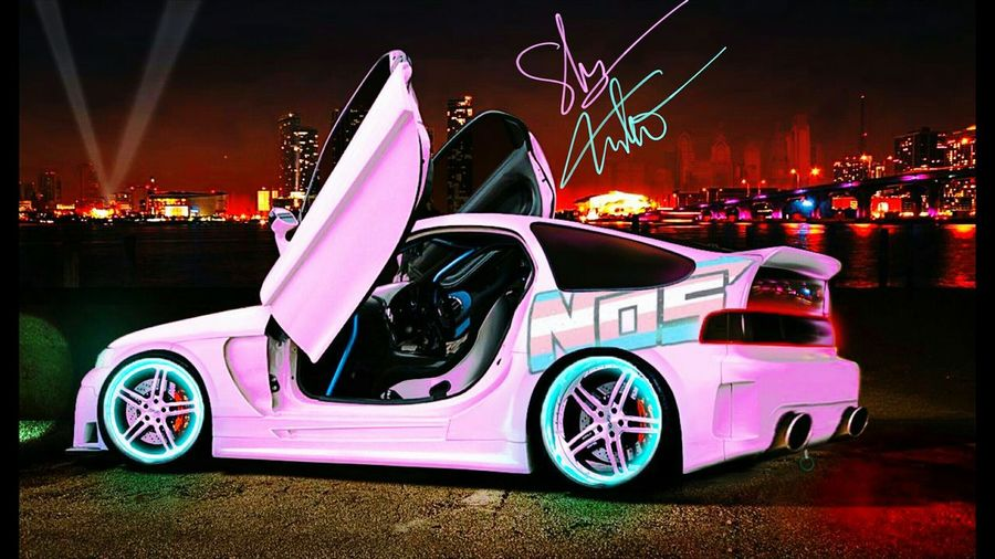 dream car <3 ^-^ Importtuner Cyberpunk Car Streetracing Neon Lights CRX Love Custom Transgender Lgbt Pink Hyperreality Vehicle Parking Stationary First Eyeem Photo