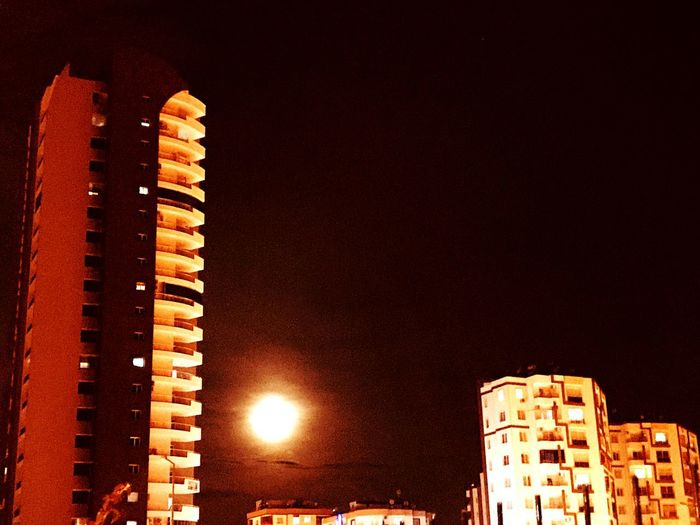 Moon Moonlight Building Exterior Night Built Structure Architecture Illuminated Low Angle View Sky No People Nature City Tower Lighting Equipment Street Skyscraper Outdoors Street Light Tall - High EyeEmNewHere The Modern Professional