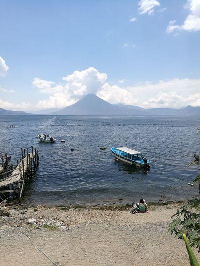 Landscape Guatemala Panajachel  Atitlan Lake Volcano Erupting Boat Dock