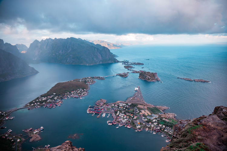High angle view on mountains among the sea against sky, lofoten, norway