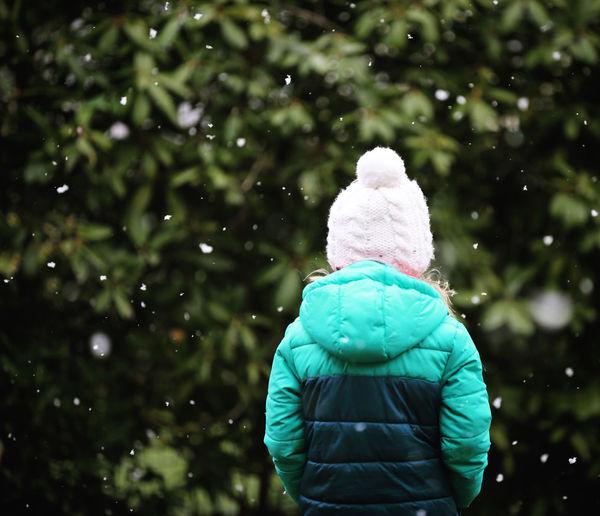 Rear view of women in snow
