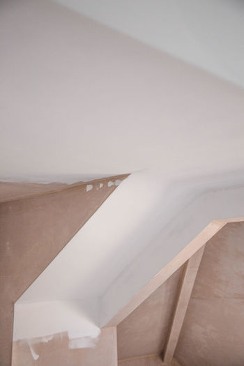 Architecture Building Built Structure Ceiling Close-up Copy Space Day Indoors  Low Angle View Minimal Nature No People Pattern Staircase Steps And Staircases Textile White White Color Wood - Material