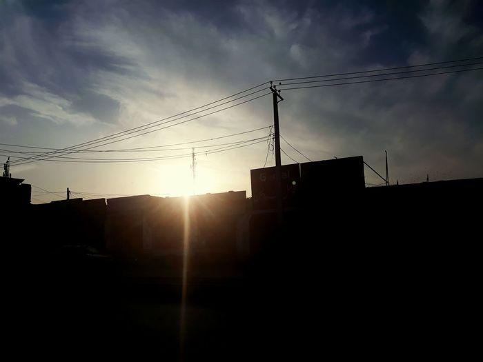 Clouds Sunset Telephone Line Silhouette City Sunlight Sky