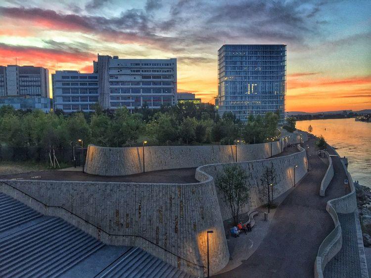 Novartis Campus, Basel Novartis Basel Switzerland Sunset Rhine Rhein Bale  Pharma Business Industry Redevelopment