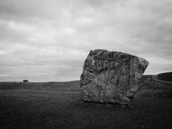 Ancient Avebury Stones Black And White England Landscape Minimalist Mystery
