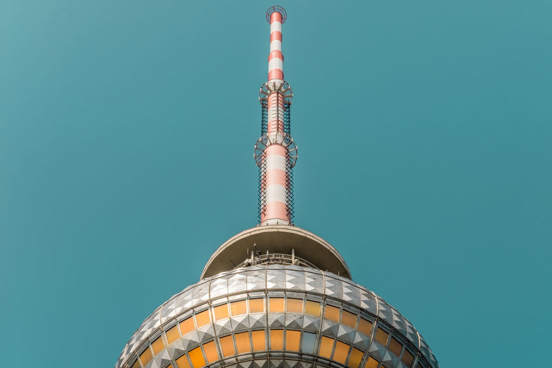 Antenna Architecture Ball Building Exterior Built Structure Clear Sky Communication Communications Tower Copy Space Day Fernsehturm International Landmark Low Angle View My Fuckin Berlin No People Outdoors Pattern Sky Tall - High Television Tower Tourism Tower Travel Destinations Turquoise Colored Window