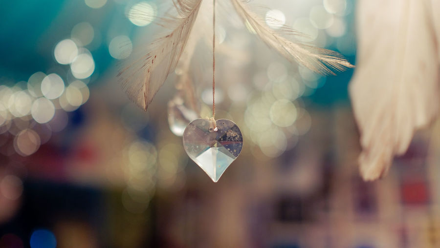 Close-up of heart shape crystal decor