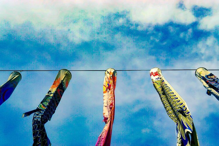 Hanging Low Angle View Celebration Cultures Sky Multi Colored Tradition Traditional Festival No People Day Outdoors Carp Drying Streamer