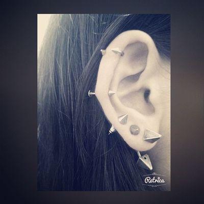 Rcnocrop Black çivi Instalike metal earring piercing