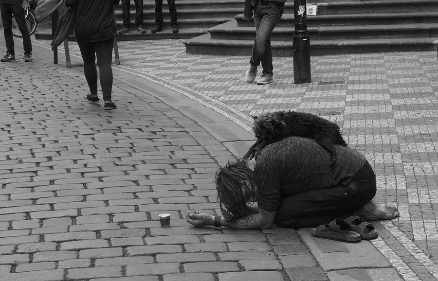 Adult ALMS Beggar Boys Childhood Day Full Length Lifestyles Low Section Men Needmoney Outdoors People Poorpeople Prague Real People Sidewalk Sitting Street Togetherness Two People