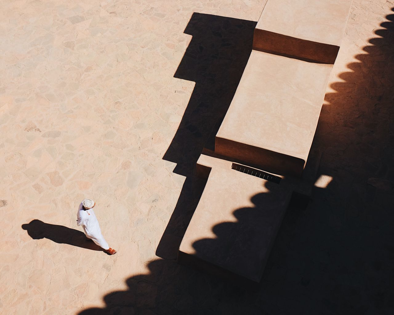High Angle View Of Man Standing At Nizwa Fort