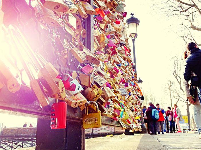 France Paris Locks Lockbridge  Loveandlife Holiday Holidaywithmylove Springtime Sunshine Shine Greatmemories GreatMemories ❤ View Streetphotography Tourist People