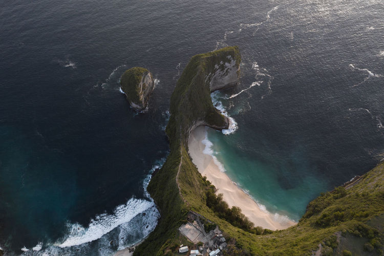 Water Sea High Angle View Beauty In Nature No People Nature Day Scenics - Nature Beach Land Aerial View Outdoors Rock Motion Tranquility Tranquil Scene Rock Formation Non-urban Scene Solid Nusa Penida Island Nusa Penida