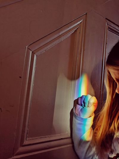 The power of the rainbow Colors Rainbow Rainbow Colors Staircase Girl Girl Power Power Refraction Refractions In Light Hair EyeEm Gallery Eyemphotography Colours The Week on EyeEm Water Spectrum
