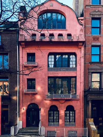 Pink lady Pink Pink Color Street Facade Evening Walk Cityscape New York City Architecture Built Structure Building Exterior Window Building Low Angle View Day City Residential District Façade The Mobile Photographer - 2019 EyeEm Awards