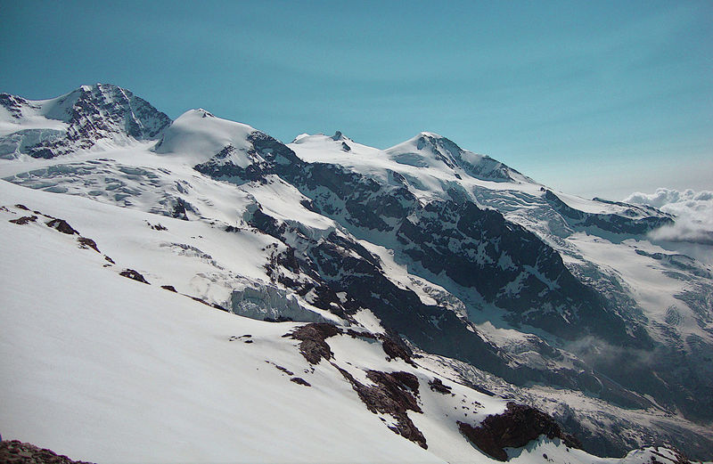 Southern side of monte rosa chain as seen from felik glacier, alps, italy