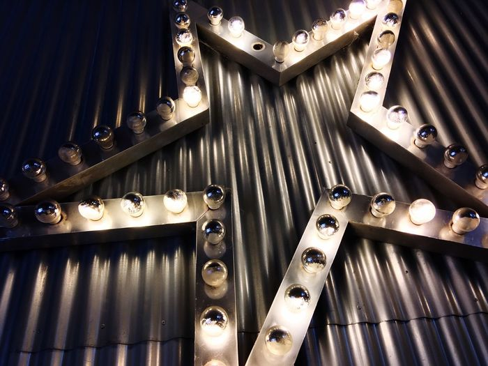 Lightbulb Stars No People Indoors  Metal High Angle View Pattern Illuminated Close-up In A Row Lighting Equipment Glowing Technology Still Life