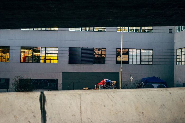 Real People Lifestyles Building Exterior Architecture Transportation Built Structure Day Men Outdoors Road One Person People Adult Adults Only Under A Bridge Poverty San Francisco I Take Photos While Driving Rule Of Thirds