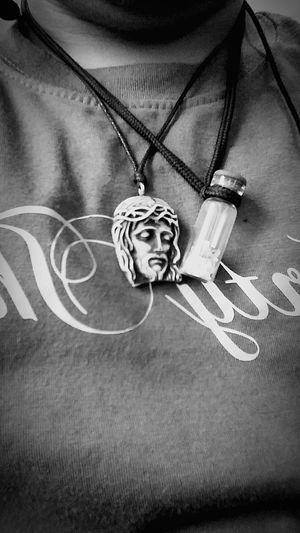 Close-up Jesus Christ MySaviour Necklace Monochrome Photography