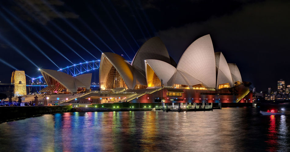 New South Wales  Sydney Vivid 2019 Festival Lighting Effects Light Show Harbour Bridge Harbor Opera House Night Illuminated Built Structure Architecture Water Sky Travel Destinations Travel Building Exterior Blue Lines Blue And Yellow